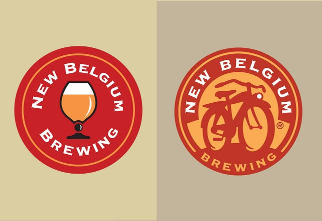 New Belgium replaced their original logo (the beer glass) with one that features their iconic Fat Tire bicycle.