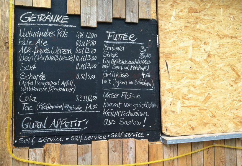 Biergarten menu at the Pfefferberg restaurant.