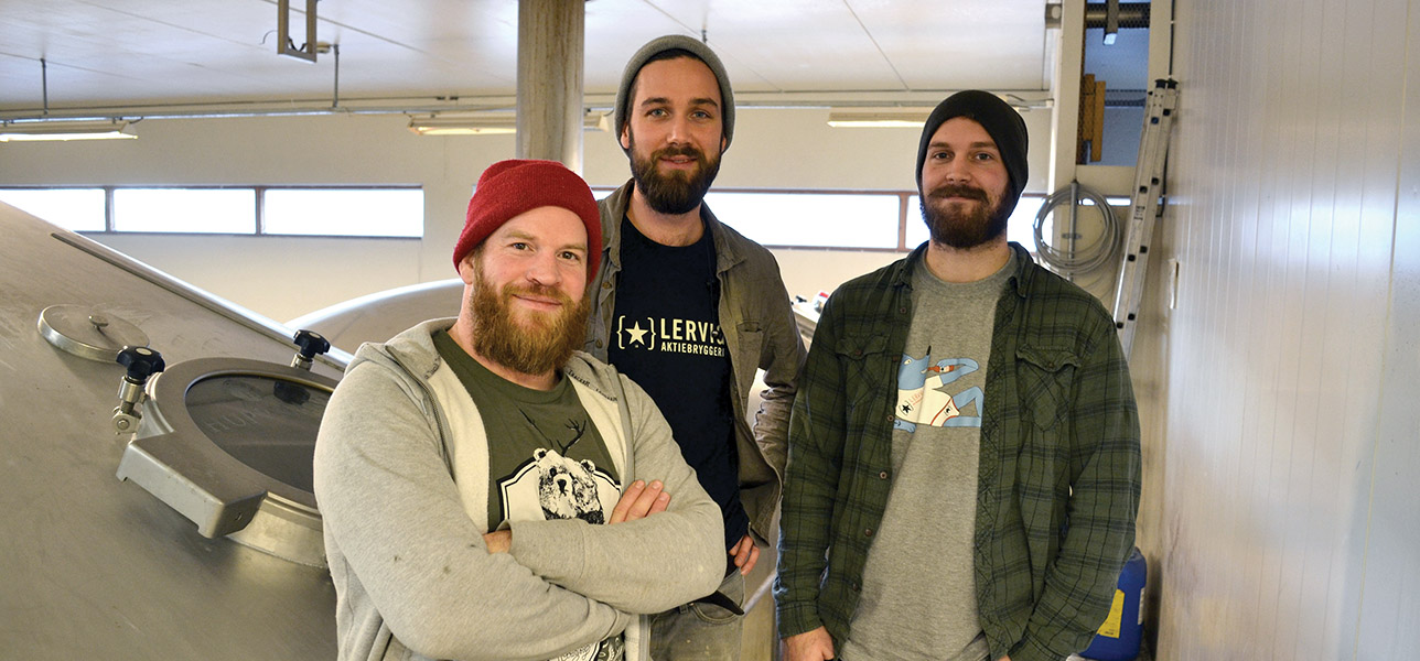 Mike Murphy, David Graham and Dustin Zimmerman at Lervig Aktiebryggeri in Stavanger, Norway.