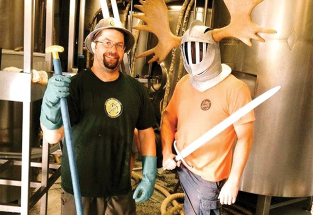 Lompoc brewmaster Bryan Keilty and Sir Pamplemousse, a character from the label of Lompoc's Pamplemousse IPA.