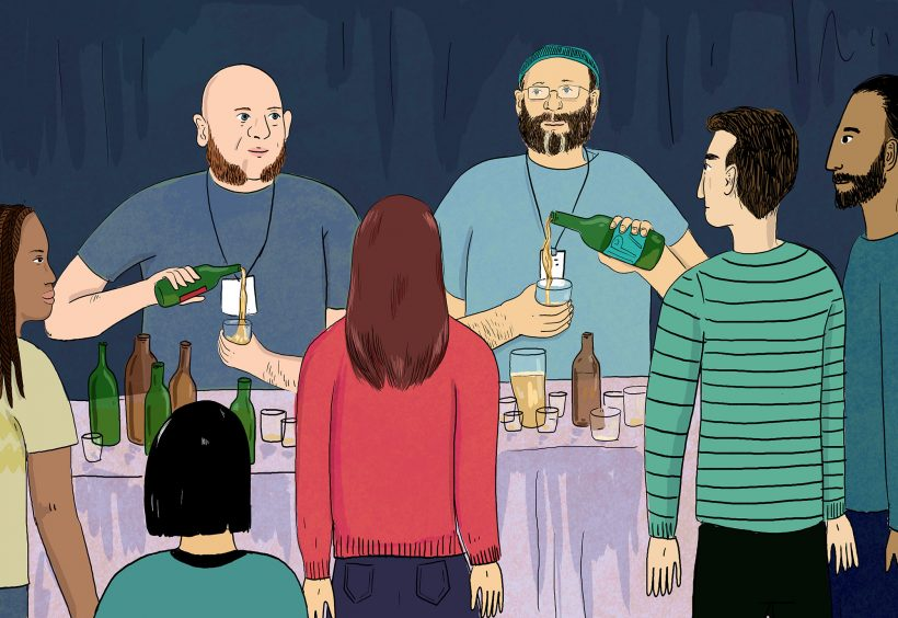 Alström Bros pouring fest beers. Illustration by Lily Padula.