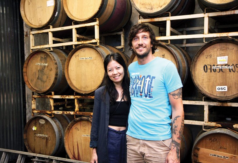 Whiner Beer co-owners Ria Neri and Brian Taylor. | Photo by Julia Thiel.