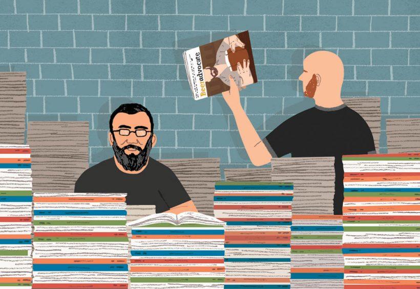 Alström Bros w/ 10 Years of BeerAdvocate magazine. Illustration by Michael Parkin