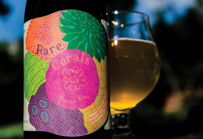 Rare Corals, a farmhouse ale from Jester King refermented with 1,200 combined pounds of guava, bananas, strawberries, cantaloupe, toasted coconut, and chamomile.
