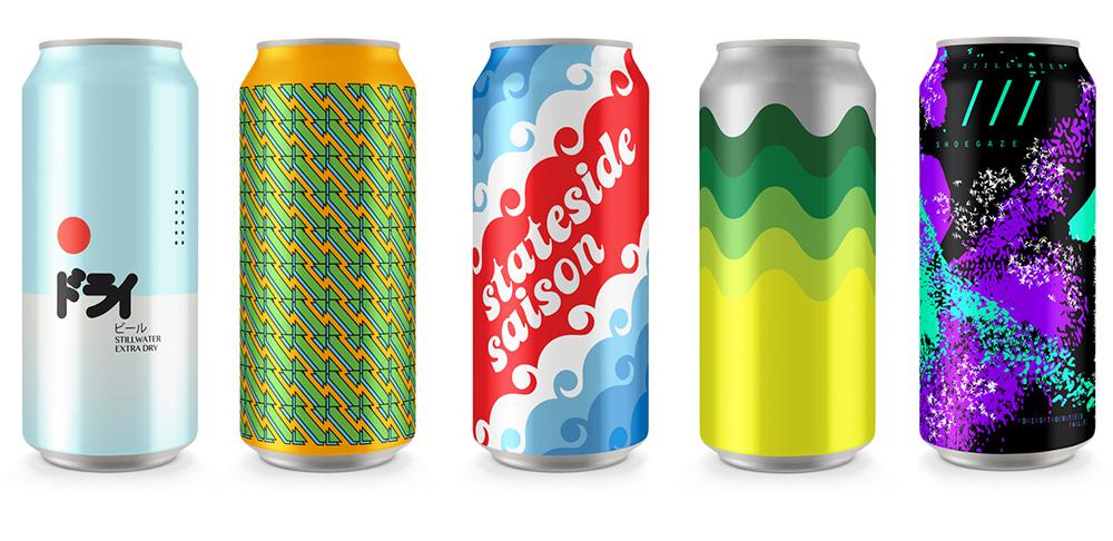 Beer can label designs for Stillwater Artisanal beer, designed by Mike Van Hall