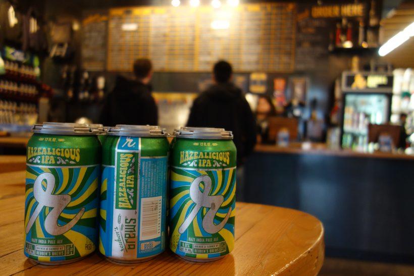 Reuben's Brews Hazealicious IPA cans.