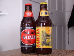 Lammin Sahtia (right) and Kataja Olut (left) from the Lammin Sahti Oy brewery in Finland
