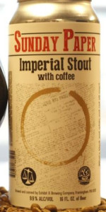 Sunday Paper Imperial Stout with Coffee