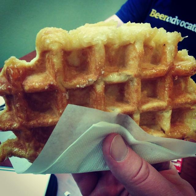 Freshly made Gaufres de Liège from Waffle Cabin.